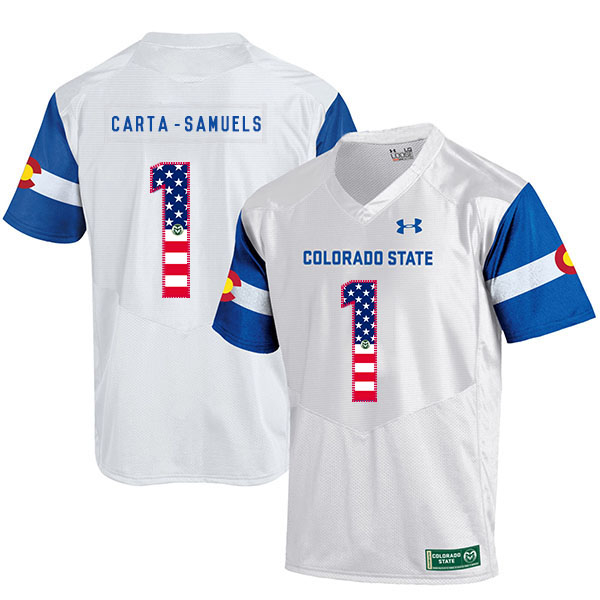 Colorado State Rams 1 K.J. Carta Samuels White USA Flag College Football Jersey