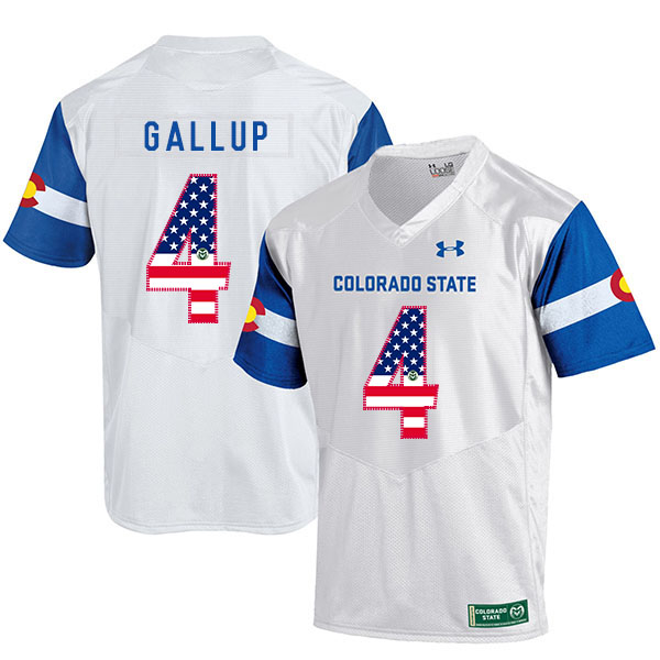 Colorado State Rams 4 Michael Gallup White USA Flag College Football Jersey