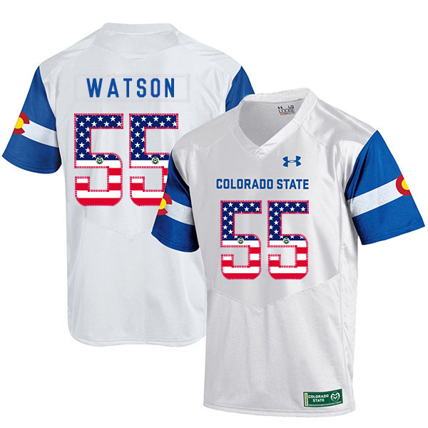 Colorado State Rams 55 Josh Watson White USA Flag College Football Jersey