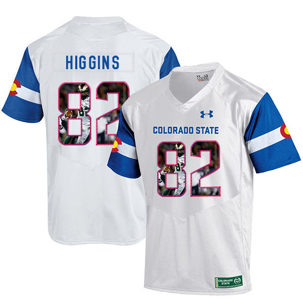 Colorado State Rams 82 Rashard Higgins White Fashion College Football Jersey