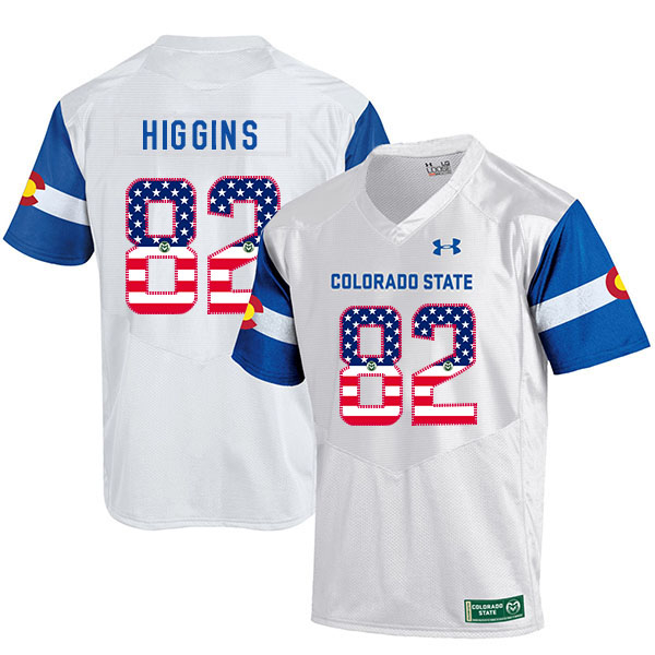 Colorado State Rams 82 Rashard Higgins White USA Flag College Football Jersey