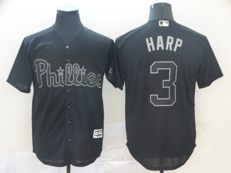 "Phillies 3 Bryce Harper ""Harp"" Black 2019 Players' Weekend Player Jersey"