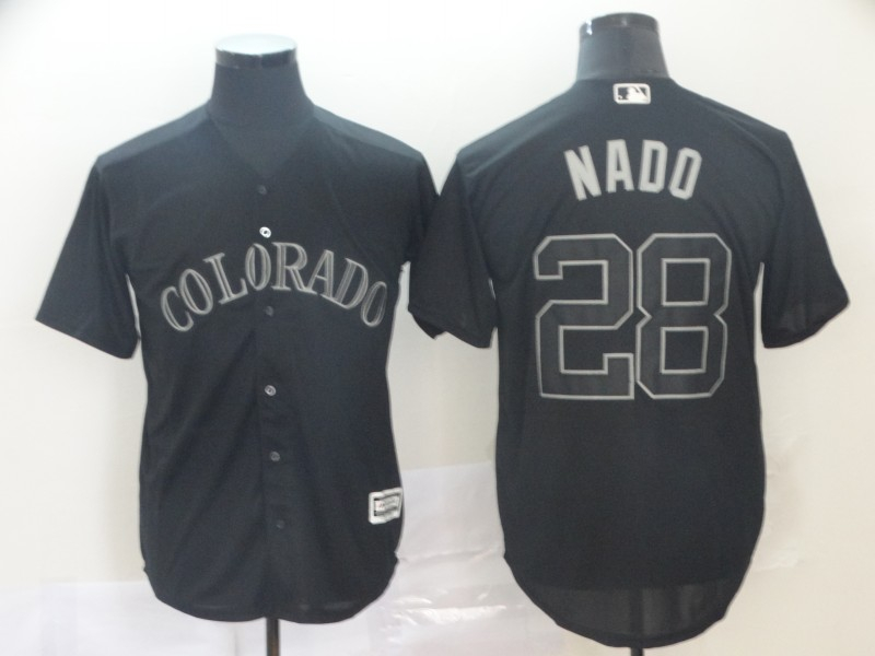 "Rockies 28 Nolan Arenado ""Nado"" Black 2019 Players' Weekend Player Jersey"