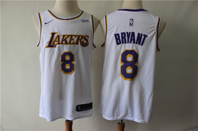 Lakers 8 Kobe Bryant White Nike Swingman Jersey