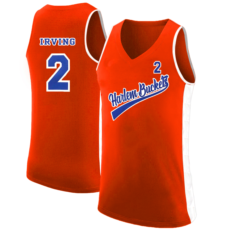 Harlem Buckets 2 Kyie Irving Orange Uncle Drew Basketball Jersey