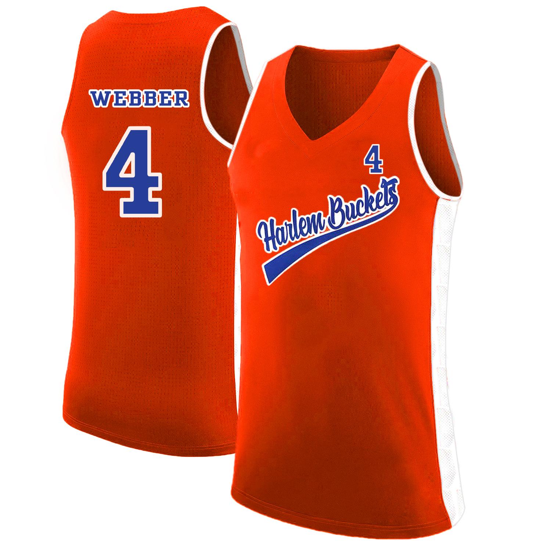 Harlem Buckets 4 Chris Webber Orange Uncle Drew Basketball Jersey