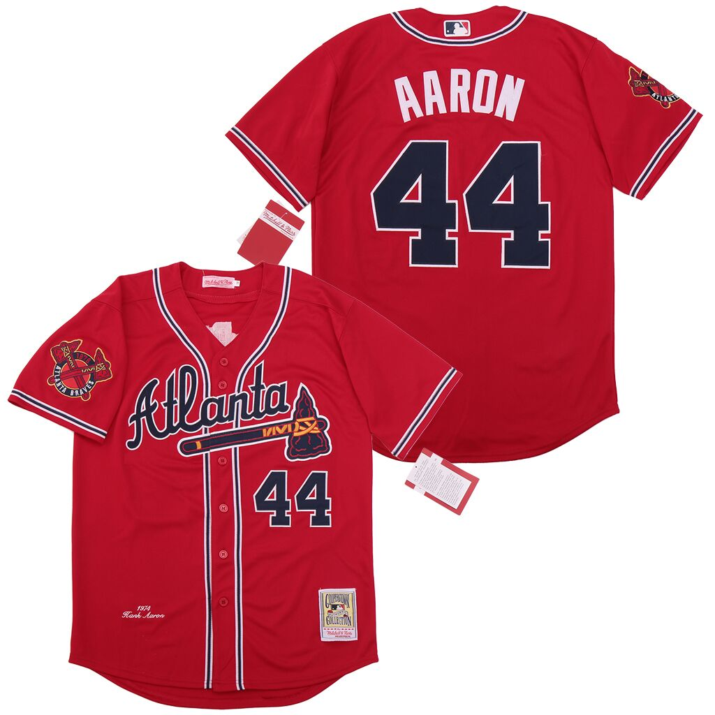 Braves 44 Hank Aaron Red 1974 Cooperstown Collection Jersey