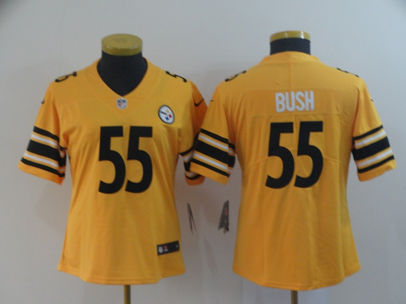 Nike Steelers 55 Devin Bush Gold Women Inverted Legend Limited Jersey