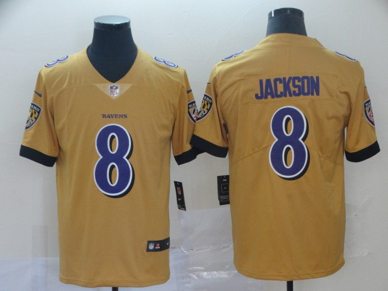 Nike Ravens 8 Lamar Jackson Gold Inverted Legend Limited Jersey