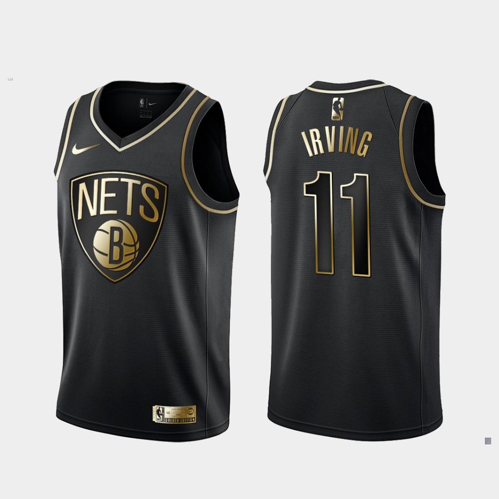Nets 11 Kyrie Irving Black Gold Nike Swingman Jersey