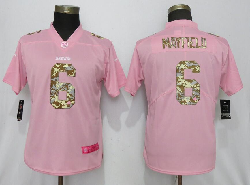 Nike Browns 6 Baker Mayfield Pink Camo Fashion Women Limited Jersey