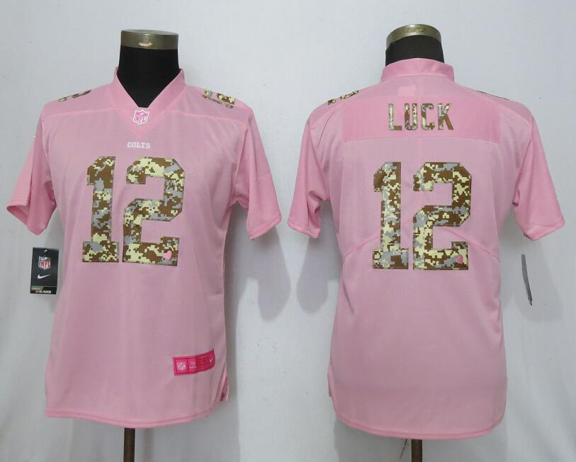 Nike Colts 12 Andrew Luck Pink Camo Fashion Women Limited Jersey