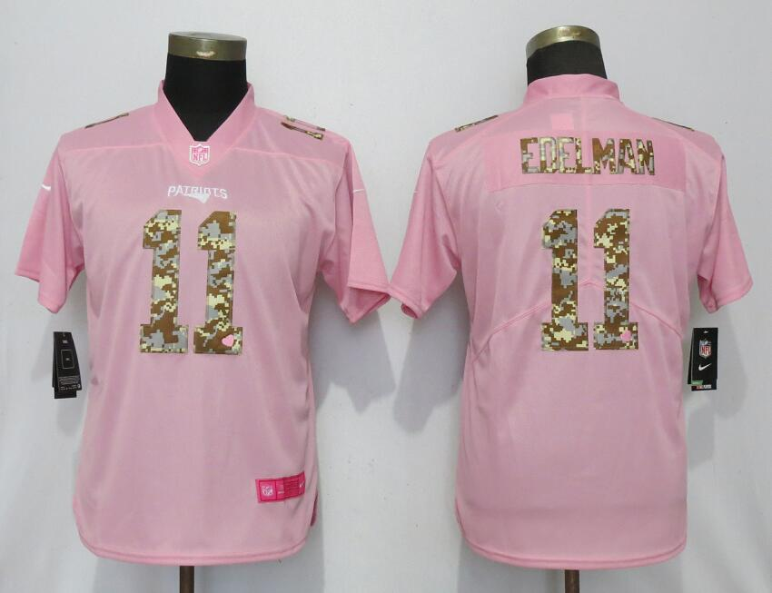 Nike Patriots 11 Julian Edelman Pink Camo Fashion Women Limited Jersey