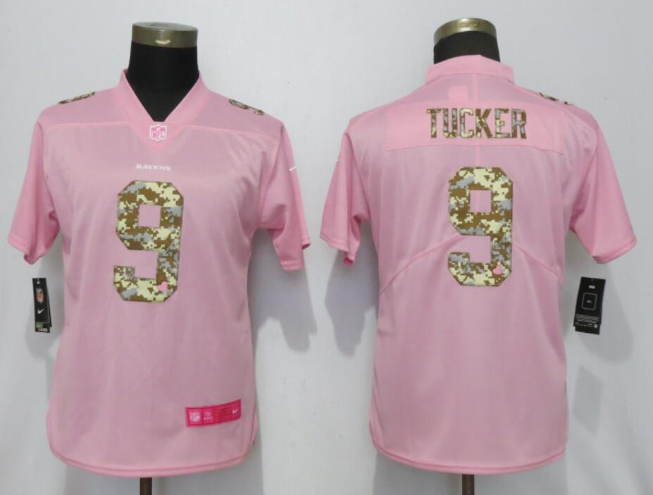 Nike Ravens 9 Justin Tucker Pink Camo Fashion Women Limited Jersey