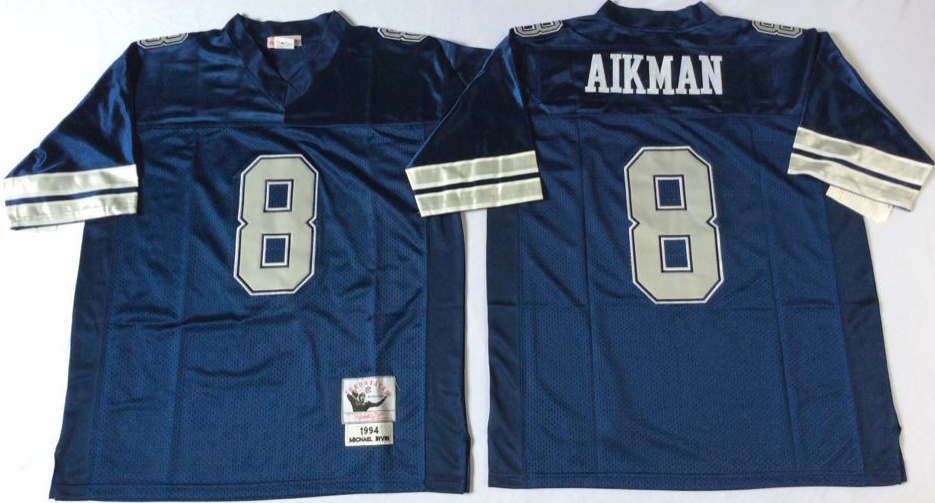 Cowboys 8 Troy Aikman Blue M&N Throwback Jersey