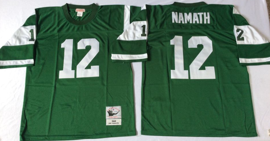 Jets 12 Joe Namath Green M&N Throwback Jersey