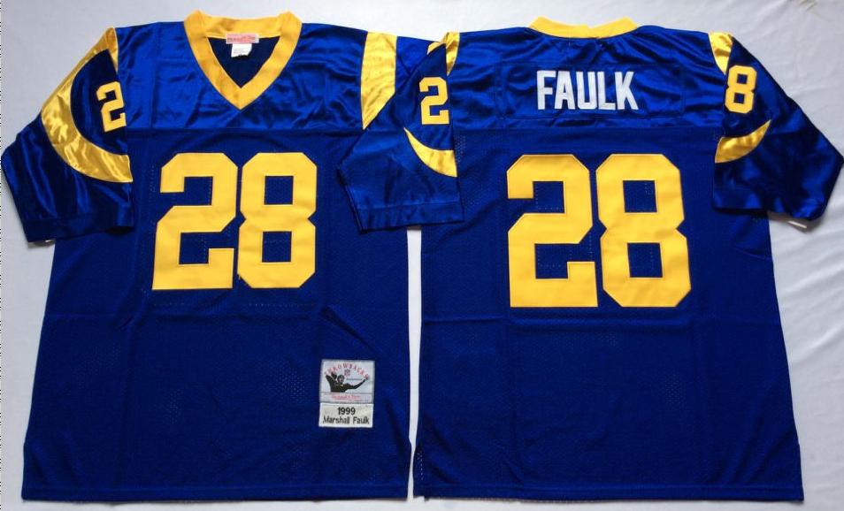 Rams 28 Marshall Faulk Blue M&N Throwback Jersey