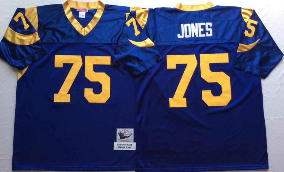 Rams 75 Deacon Jones Blue M&N Throwback Jersey