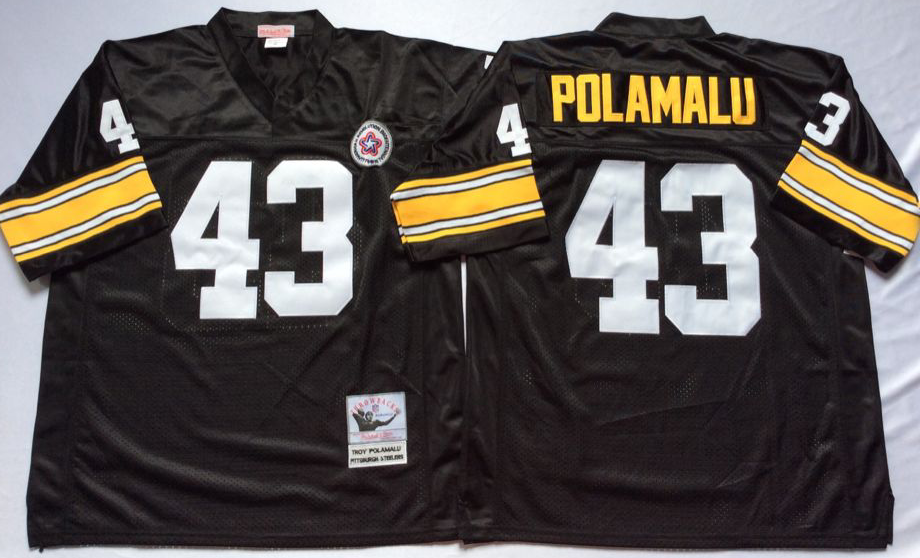 Steelers 43 Troy Polamalu Black M&N Throwback Jersey
