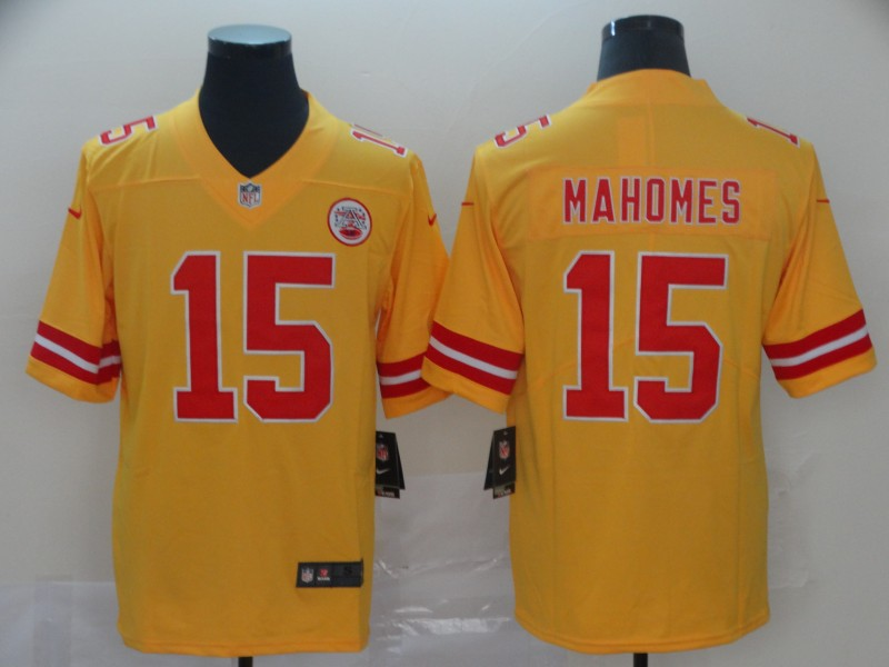 Nike Chiefs 15 Patrick Mahomes Gold Inverted Legend Limited Jersey