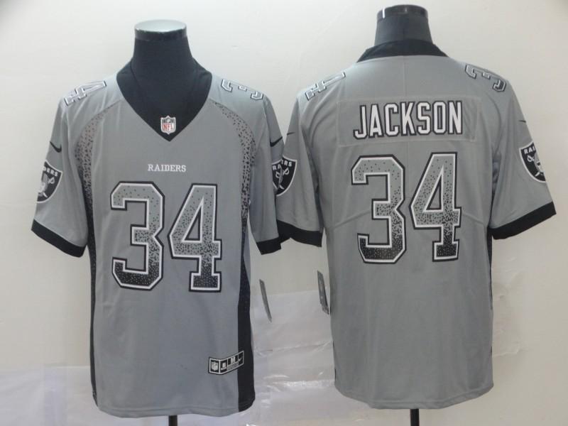 Nike Raiders 34 Bo Jackson Gray Drift Fashion Limited Jersey