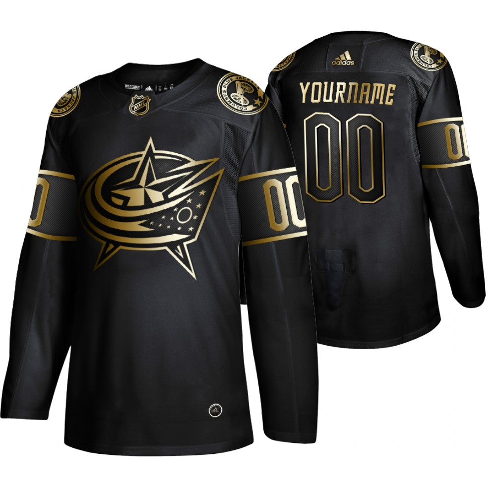 Blue Jackets Customized Black Gold Adidas Jersey