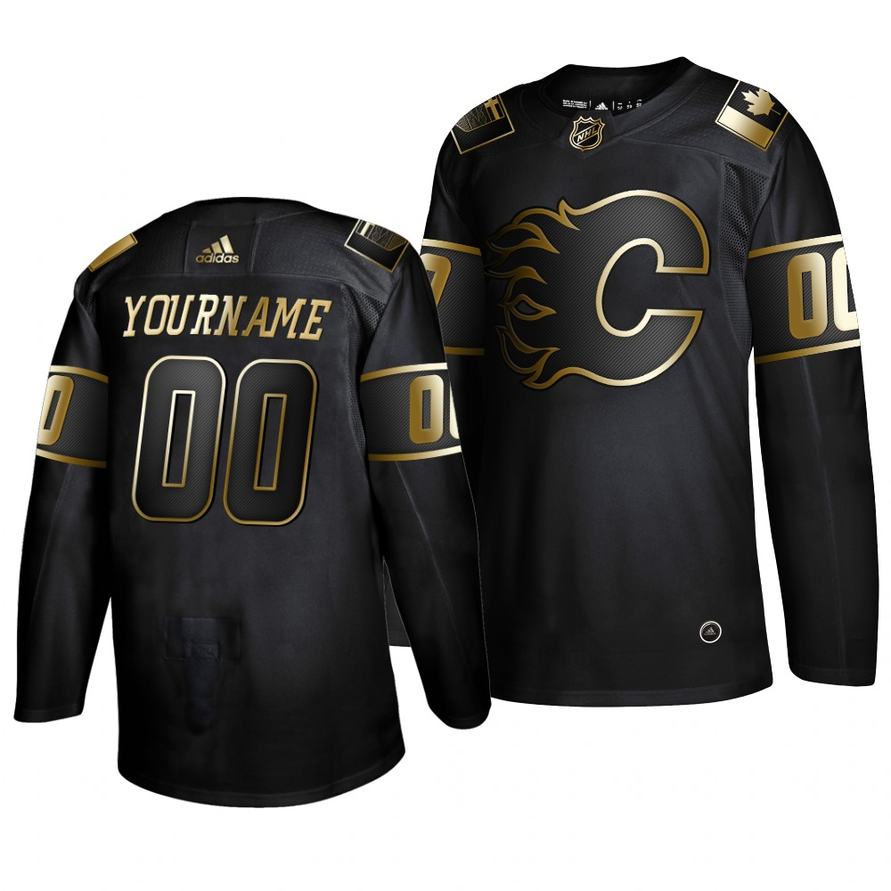 Flames Customized Black Gold Adidas Jersey