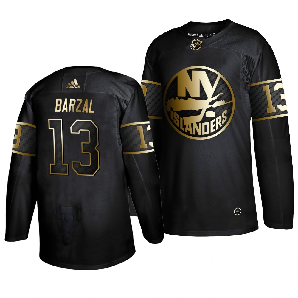 Islanders 13 Mathew Barzal Black Gold Adidas Jersey