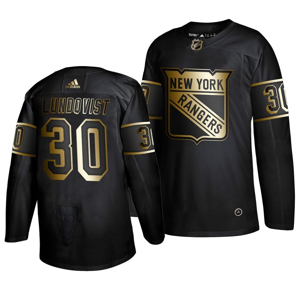 Rangers 30 Henrik Lundqvist Black Gold Adidas Jersey