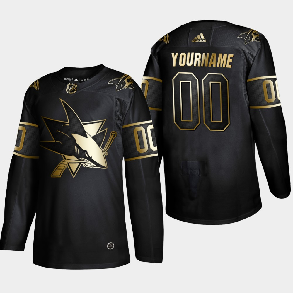 Sharks Customized Black Gold Adidas Jersey