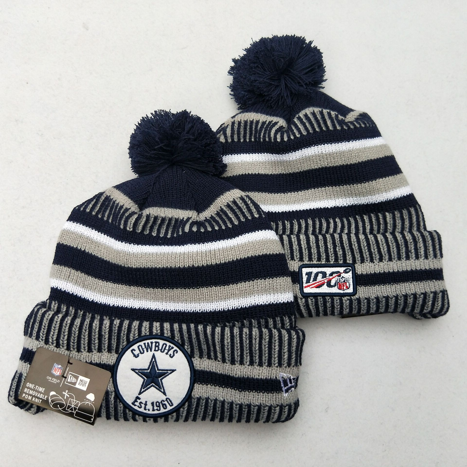 Cowboys Team Logo Gray 100th Season Pom Knit Hat YD