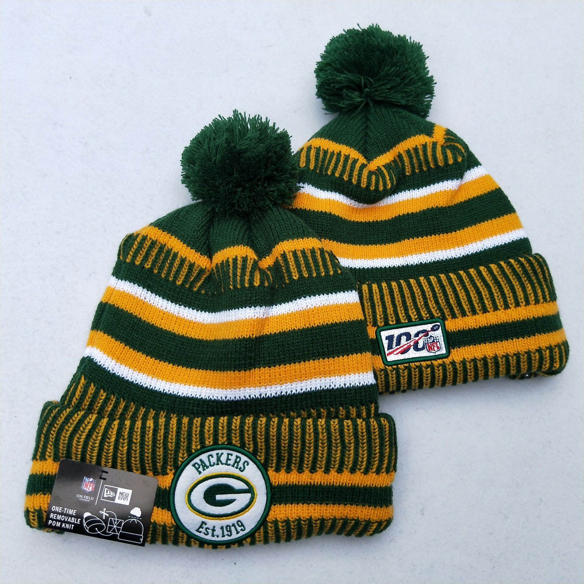 Packers Team Logo Green Yellow 100th Season Pom Knit Hat YD