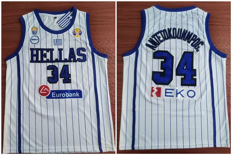 Greece Hellas 34 Giannis Antetokounmpo White World Cup College Basketball Jersey