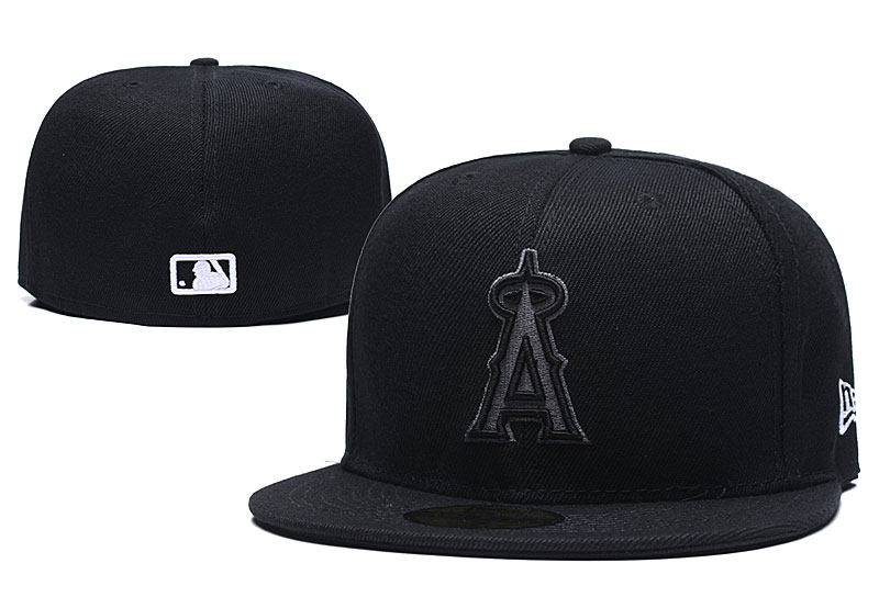 Angels Team Logo Black Fitted Hat LX