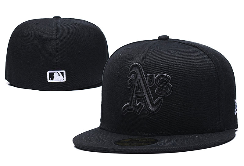 Athletics Team Logo Black Fitted Hat LX