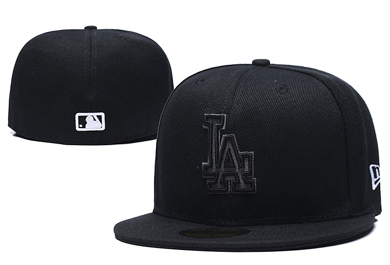 Dodgers Team Logo Black Fitted Hat LX