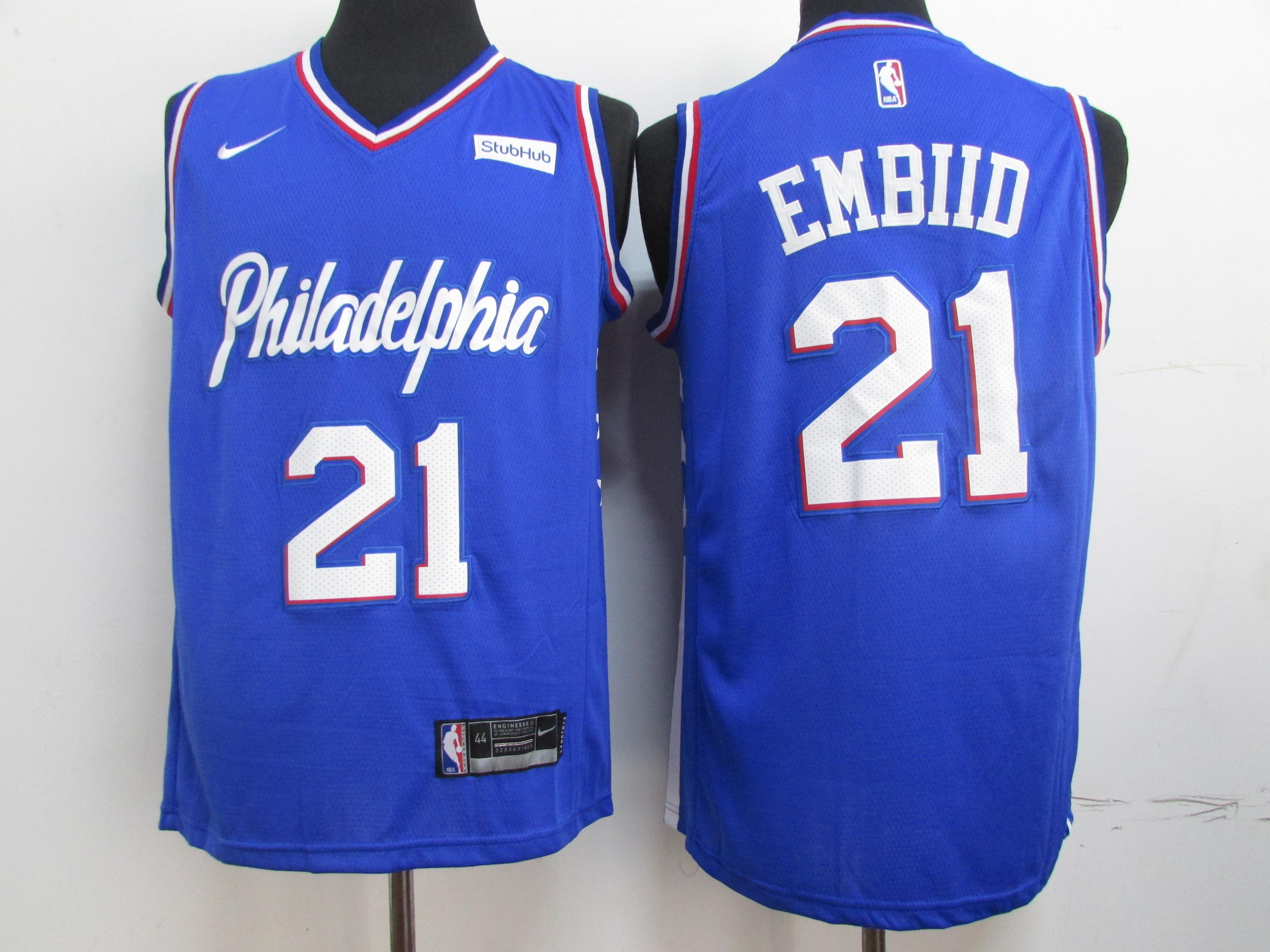 76ers 21 Joel Embiid Blue Nike Swingman Jersey