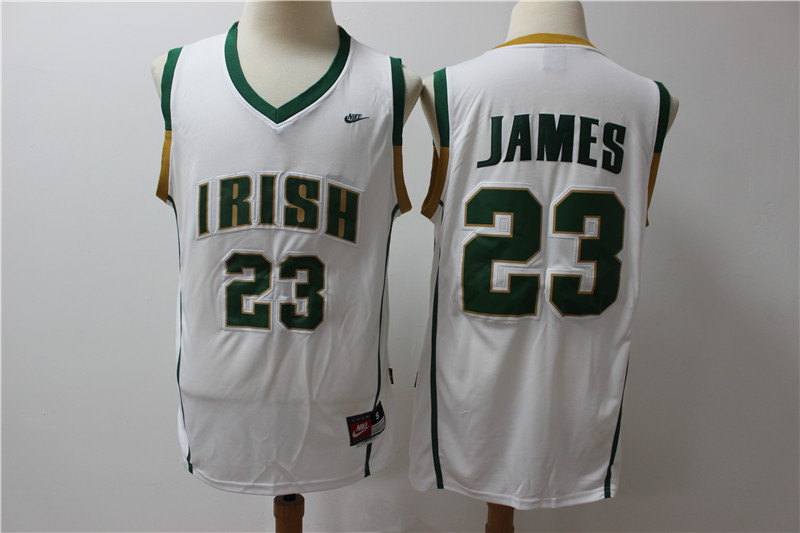 Irish High School 23 LeBron James White Basketball Jersey
