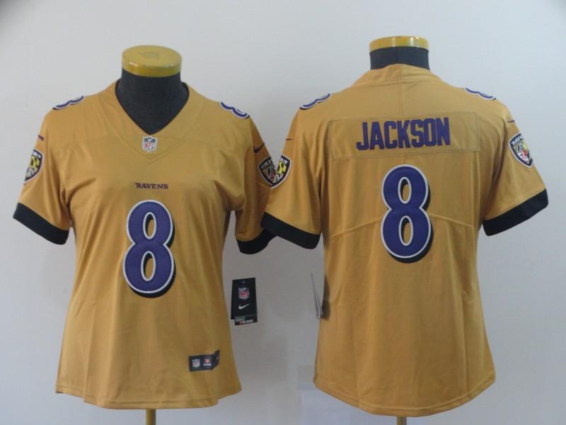 Nike Ravens 8 Lamar Jackson Gold Women Inverted Legend Limited Jersey