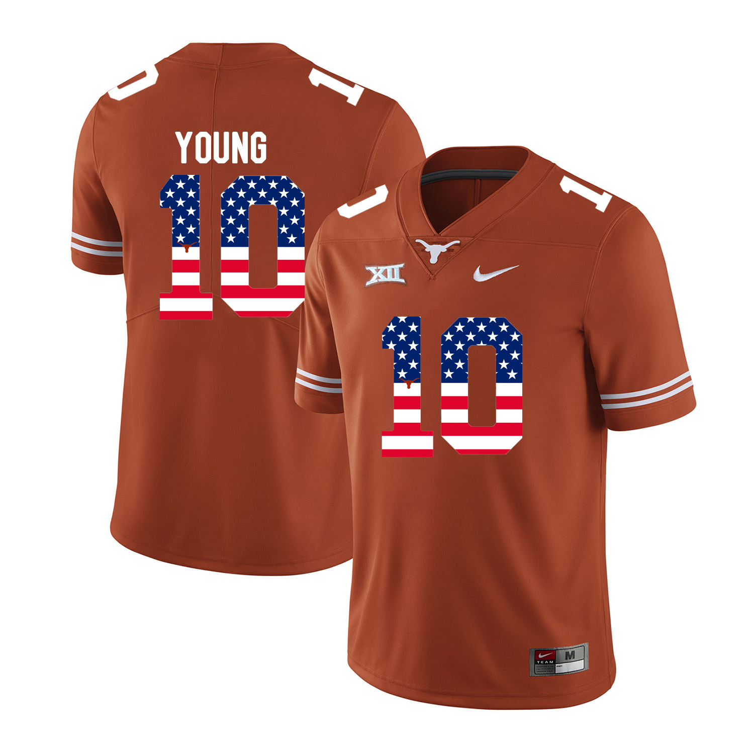 Texas Longhorns 10 Vince Young Orange USA Flag Nike College Football Jersey