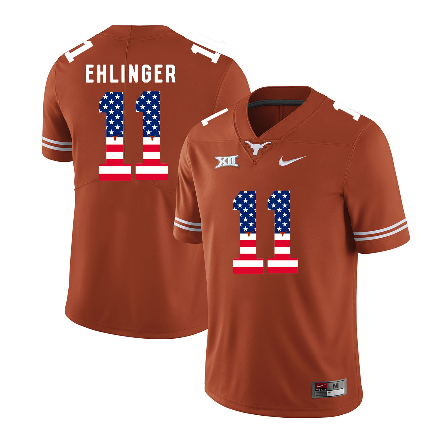 Texas Longhorns 11 Sam Ehlinger Orange USA Flag Nike College Football Jersey