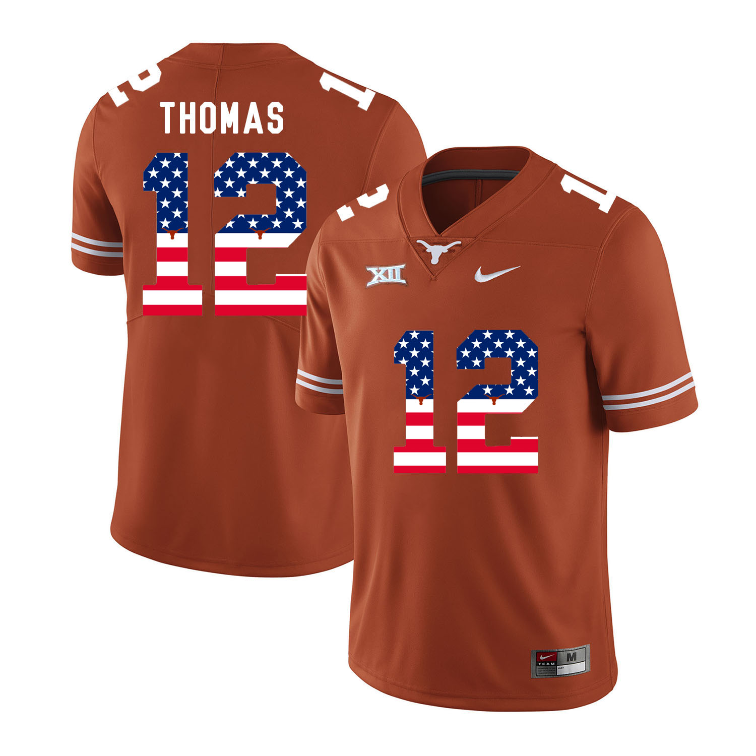 Texas Longhorns 12 Earl Thomas Orange USA Flag Nike College Football Jersey