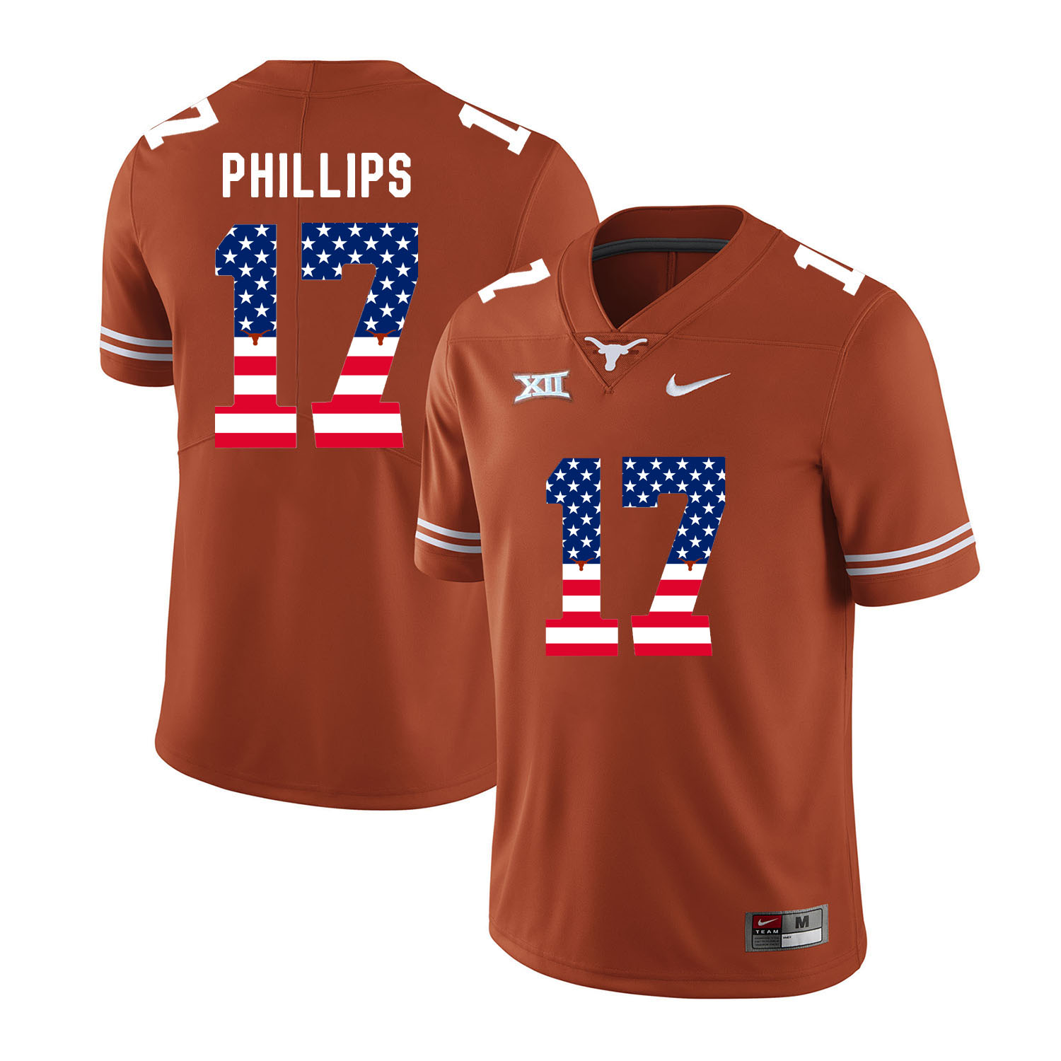 Texas Longhorns 17 Adrian Phillips Orange USA Flag Nike College Football Jersey