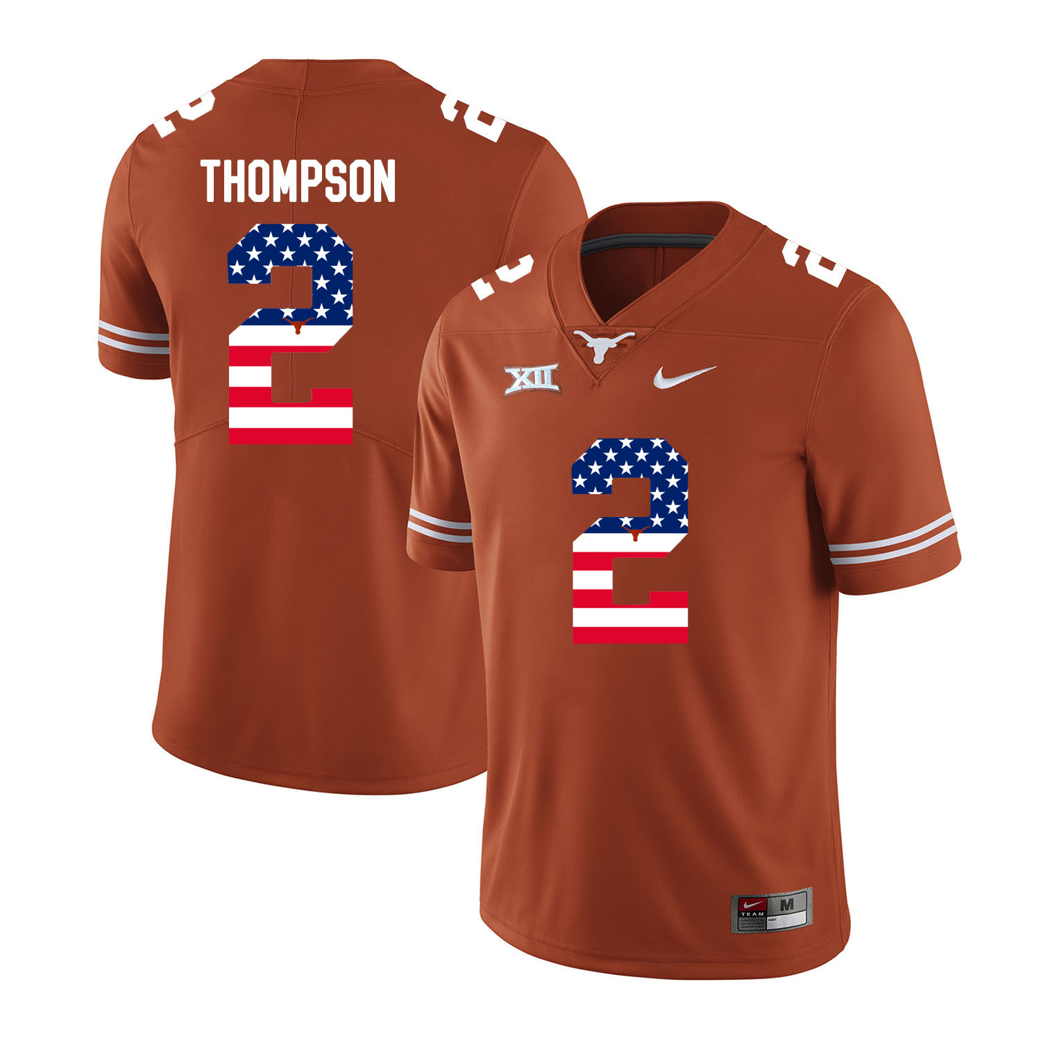 Texas Longhorns 2 Mykkele Thompson Orange USA Flag Nike College Football Jersey