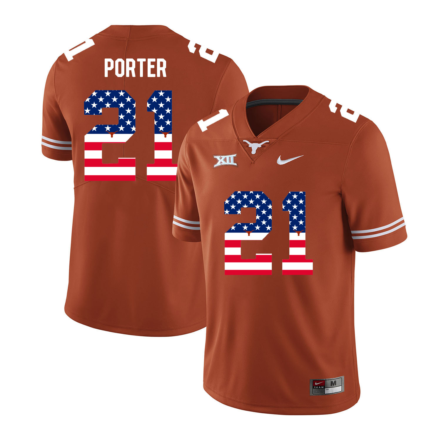 Texas Longhorns 21 Kyle Porter Orange USA Flag Nike College Football Jersey