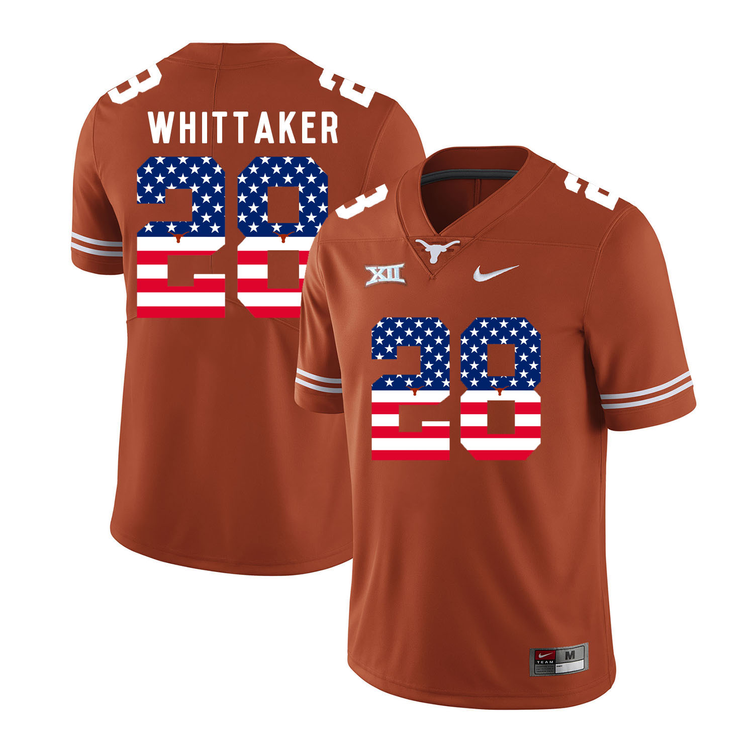 Texas Longhorns 28 Fozzy Whittaker Orange USA Flag Nike College Football Jersey