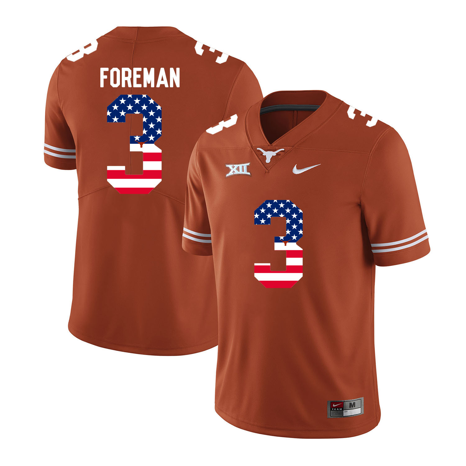 Texas Longhorns 3 Armanti Foreman Orange USA Flag Nike College Football Jersey