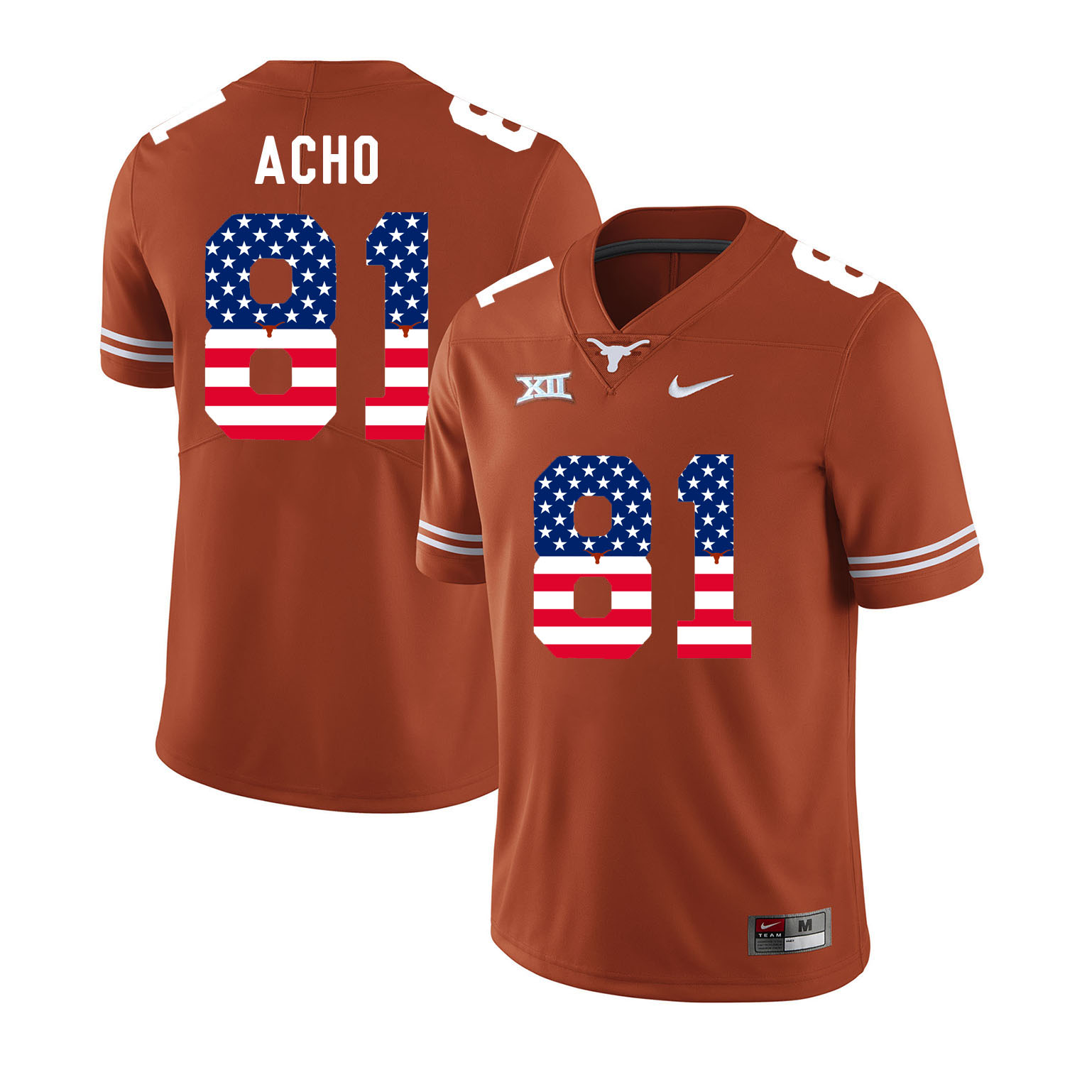 Texas Longhorns 81 Sam Acho Orange USA Flag Nike College Football Jersey