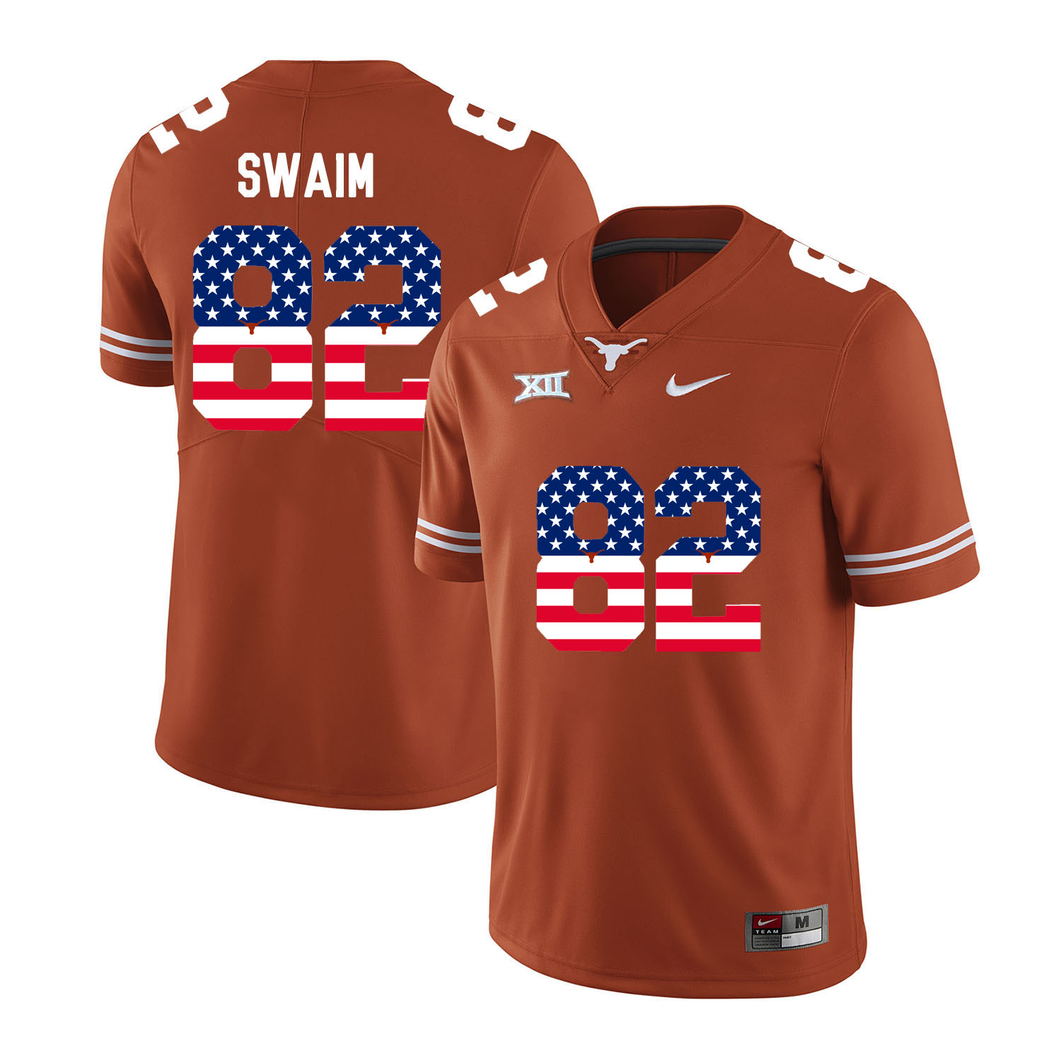 Texas Longhorns 82 Geoff Swaim Orange USA Flag Nike College Football Jersey