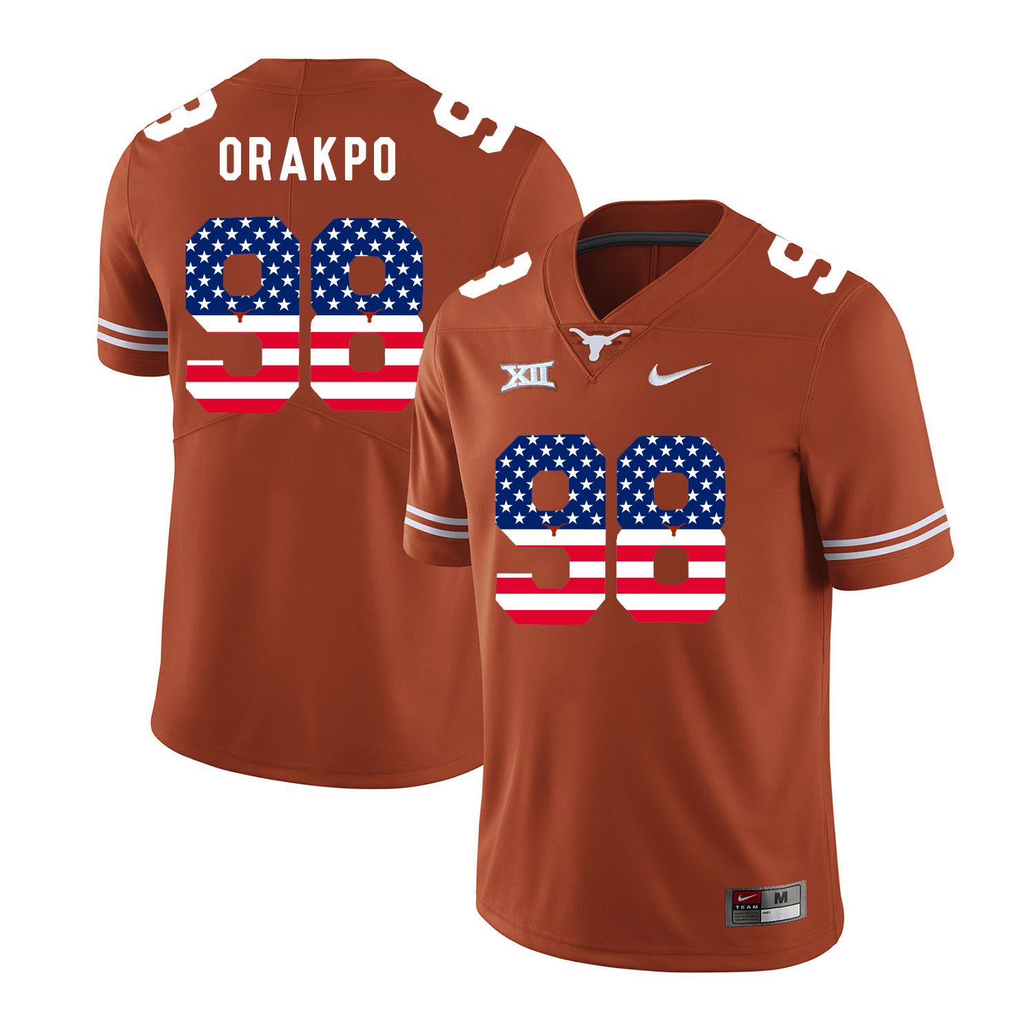 Texas Longhorns 98 Brian Orakpo Orange USA Flag Nike College Football Jersey